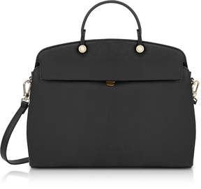 Furla Onyx Leather My Piper Medium Satchel Bag