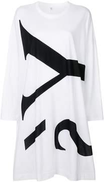 Y's logo print long-sleeved dress