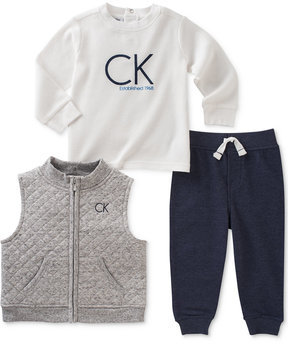 Calvin Klein 3-Pc. Quilted Vest, Logo T-Shirt & Pants Set, Baby Boys (0-24 months)