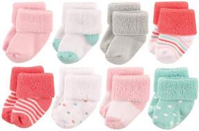Luvable Friends Coral Dots Newborn Shoe Socks Set