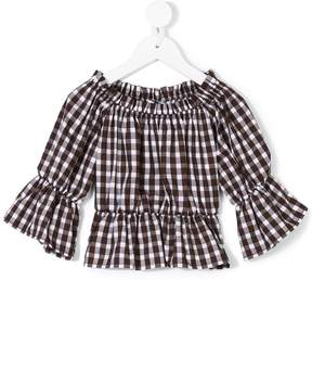 Dondup Kids off-the-shoulders checked blouse