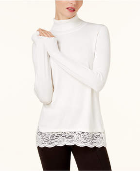 Cable & Gauge Lace-Hem Turtleneck Sweater