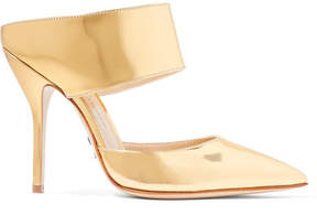 Paul Andrew Rusca Mirrored-leather Mules - Gold