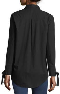 Velvet Heart Tie-Sleeve Button-Front Tunic