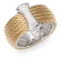 Alor 18K Gold & Stainless Steel Diamond Band Ring