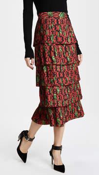 Stella Jean Printed Pleated Tiered Skirt