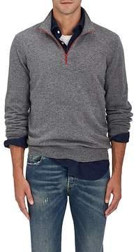 Brunello Cucinelli Men's Contrast-Tipped Cashmere Half-Zip Sweater