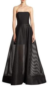 Halston Paneled Mesh Strapless Gown