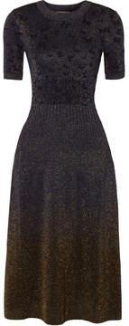 Bottega Veneta Metallic Jacquard Midi Dress - Midnight blue