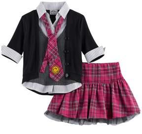 Knitworks Girls 4-6x Plaid & Tulle Uniform Tie Top & Skirt Set