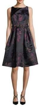 Eliza J Floral Jacquard Fit-&-Flare Dress