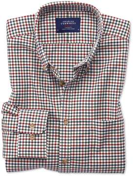 Charles Tyrwhitt Slim Fit Button-Down Non-Iron Twill Multi Gingham Cotton Casual Shirt Single Cuff Size XS