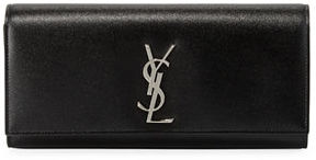 Saint Laurent Kate Monogram Grain de Poudre Clutch Bag - BLACK - STYLE