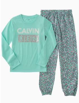 Calvin Klein girls 2-piece logo animal print sleep set