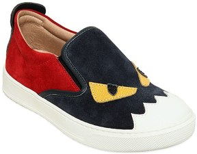 Fendi Monster Leather & Suede Slip-On Sneakers