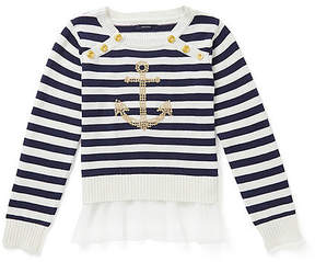 Nautica Girls' Striped & Anchor Sweater (8-16)