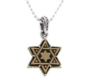 King Baby Studio Jewelry Sterling Silver and Alloy Star of David Pendant with 24 Ball Chain