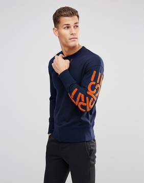 Esprit Recycled Sweat With Contrast Branded Sleeve
