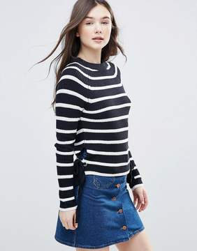 Brave Soul Stripe Eyelet Sweater