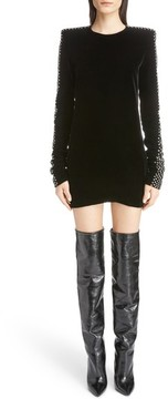 Women's Saint Laurent Crystal Embellished Velvet Dress
