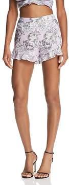 Bardot Ruffle-Hem Floral Print Shorts