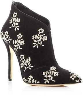 Oscar de la Renta Women's Elkin Embroidered Suede High Heel Booties