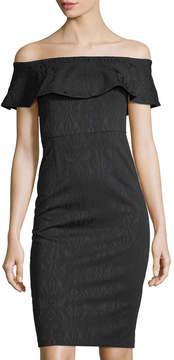 Donna Morgan Ruffled Off-the-Shoulder Jacquard Midi Dress
