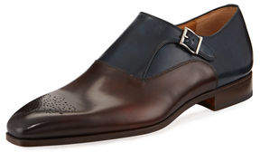Magnanni Hand-Antiqued Calfskin Monk Loafer