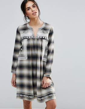 d.RA Shia Checked Dress with Embroidered Yoke