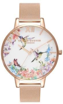 Olivia Burton Women's Painterly Mesh Strap Watch, 38Mm