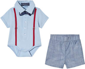 Andy & Evan Blue Polo Shirtzie with Bow Tie and Grey Shorts