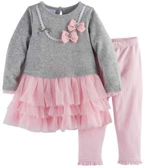 Nannette Baby Girl Necklace Tutu Dress & Ruffled Leggings Set