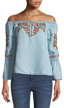 Cupcakes And Cashmere Adrien Off-the-Shoulder Floral-Embroidered Chambray Top
