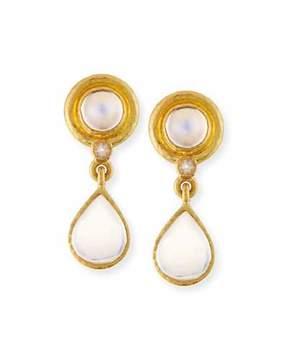 Elizabeth Locke 19K Moonstone Drop Earrings