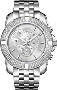 JBW Warren Silver-tone Case Silver Crystal Pave Chronograph Dial Diamond Bezel Men's Watch