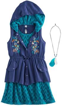 Knitworks Girls 7-16 Hooded Vest & Chevron Lace Shift Dress Set with Necklace