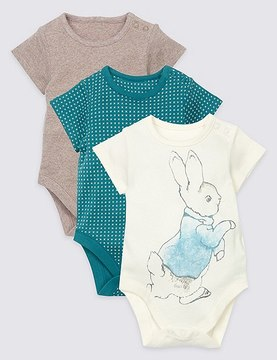 Marks and Spencer 3 Pack Pure Cotton Peter RabbitTM Bodysuits