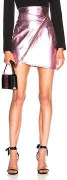 Alexandre Vauthier Metallic Leather Zip Mini Skirt