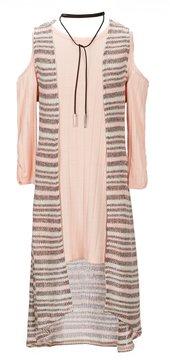 My Michelle Big Girls 7-16 Patterned Duster Vest & Solid Cold-Shoulder A-Line Dress Set