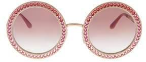 Dolce & Gabbana Dg2170b 129880 Pink Gold Round Sunglasses.