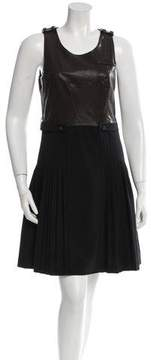 Cynthia Steffe Sleeveless Leather-Contrast Dress