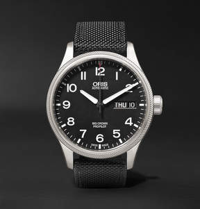 Oris Big Crown Propilot Day-Date 45mm Stainless Steel And Canvas Watch