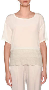 Agnona Silk Tee Shirt with Knit Details