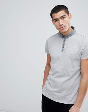 Brave Soul Contrast Chambray Collar Polo