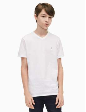 Calvin Klein boys solid logo v-neck t-shirt