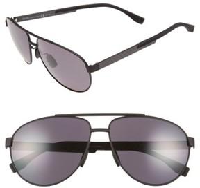BOSS Men's 63Mm Polarized Sunglasses - Black Carbon/ Smoke Polarized
