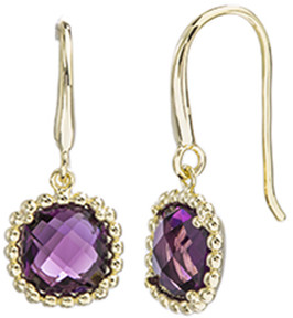 Bliss Amethyst & 18k Gold-Plated Cushion-Cut Drop Earrings