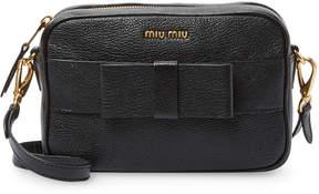 Black Leather Bandoleer Bow Leather Shoulder Bag