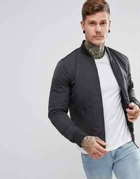 New Look Bomber Jacket With MA1 Pocket In Dark Gray