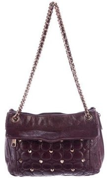 Rebecca Minkoff Studded & Quilted Leather Bag - BURGUNDY - STYLE